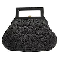 Black Raffia Straw Purse Lucite Handle Marcus Brothers Italy