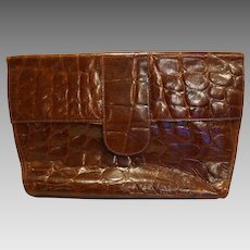 Ann Taylor Embossed Croc Brown Leather Purse Clutch Italy