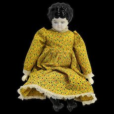 Lowbrow Low Brow China Head Doll Modern Black Hair Yellow Calico Dress