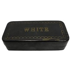 White Sewing Machine Parts Accessories Repair Kit Black Metal Box Vintage