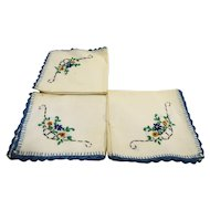 Cocktail Napkins Embroidered Flowers Blue Border