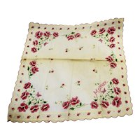 Mother Rose Print Handkerchief Pink Cream