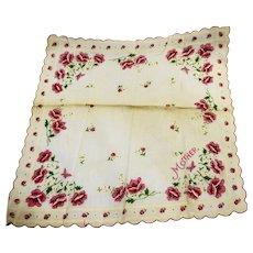 Mother Rose Print Handkerchief Pink Cream