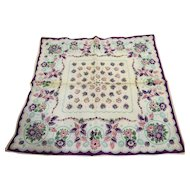 Purple Pink Floral Print Handkerchief Hanky