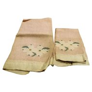 Peach Pink Guest Tea Hand Kitchen Dish Towels Pair White Floral Embroidered