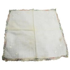 White Cotton Handkerchief Pastel Rainbow Tatted Border
