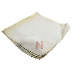 White Cotton Handkerchief Pink N Embroidered Corner
