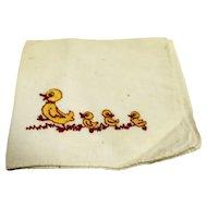 Yellow Ducks Embroidered Hanky Handkerchief