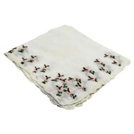 Rosebud Embroidered Ladies Handkerchief White Pink