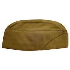 Khaki Garrison Cap Mens Tropical Worsted Size 6 7/8