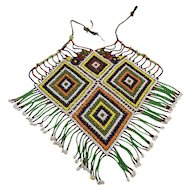 Afghan Kuchi Glass Bead Woven Bib Necklace Huge 1970s Tribal Ethnic