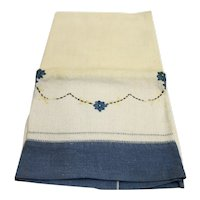 Linen Tea Towel Blue Border Embroidered Flowers