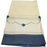 Linen Tea Towel Blue Border Embroidered Flowers