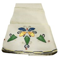 Butterfly Applique Linen Tea Towel Vintage