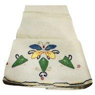 Butterfly Applique Linen Tea Towel Vintage