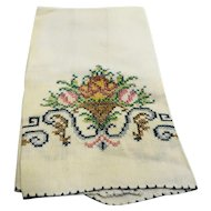 Cross Stitched Flowers Linen Tea Guest Towel