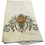 Cross Stitched Flowers Linen Tea Guest Towel