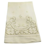 Battenberg Style Lace Linen Tea Guest Towel Cream
