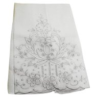 White Linen Floral Embroidered Fancy Guest Tea Towel