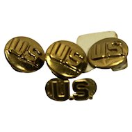 US Army Military WWII Era Brass Circle Collar Pins