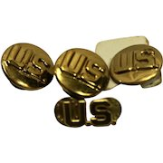 US Army Military WWII Era Infantry Brass Circle Collar Pins