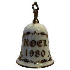 Currier Ives Gorham Porcelain Christmas Bell Ivory Gold 1980