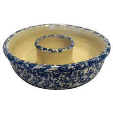 Blue Spongeware Chip Dip Bowl Yesteryears Pottery Marshall Texas