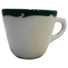 Syracuse Wintergreen Cup Mug Green Scroll Rim Restaurant Ware