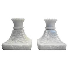 Westmoreland Beaded Grape Milk Glass Single Light Candle Holders Pair