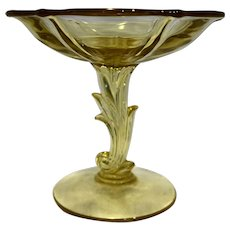 Fostoria Baroque Topaz Yellow Depression Glass Footed Compote 6 IN