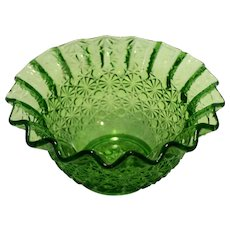Daisy Button Green Glass Ruffled Rim Bowl 6 IN LE Smith