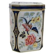 Daher Floral Tall Tin Peonies Chrysanthemums Blue Pink Gold