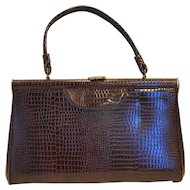 Brown Embossed Vinyl Moc Croc Large Trapezoid Handbag Purse