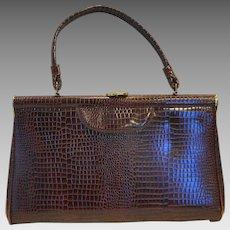 Brown Embossed Vinyl Moc Croc Large Trapezoid Handbag Purse