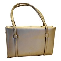 Gold Leather Structured Purse Vintage Medium
