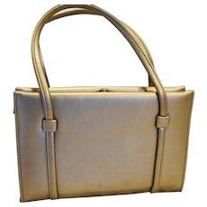 Gold Leather Structured Purse Vintage Medium