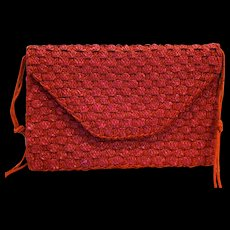 Holiday Fair Pink Red Straw Purse Large Envelope 1980s