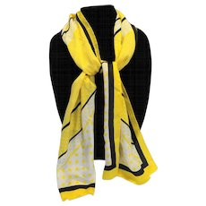 Oscar De La Renta Silk Scarf Yellow Black White Diagonal Polka Dots Rectangle