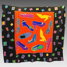 Silk Scapes Hand Painted Silk Scarf Shoes 36 IN Square Black Red Purple