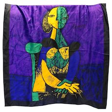 Picasso Art Scarf Woman Portrait Cubist Purple Green Yellow Abstract 34 IN