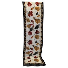 Cejon Oblong Scarf Autumn Fall Leaves Polyester Korea
