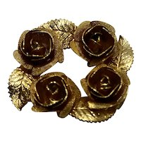 Judy Lee Gold Tone Roses Pin Circle Brooch