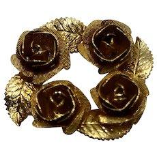 Judy Lee Gold Tone Roses Pin Circle Brooch