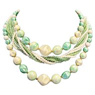 Seafoam Green White Multistrand Necklace Midcentury Japan