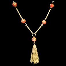Sara Coventry Red Floral Bead Gold Tone Tassel Y Necklace