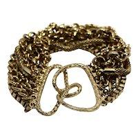 Multi Strand Gold Tone Chain Bracelet Vintage