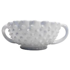 Fenton Hobnail Milk Glass Nut Bowl Handled 3729