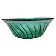 Jeannette Depression Glass Swirl Ultramarine Blue Green Salad Bowl Scalloped Rim