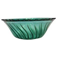 Jeannette Depression Glass Swirl Ultramarine Blue Green Salad Bowl Scalloped Rim