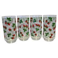 Libbey Strawberry Strawberries Swiss Dot Glass Tumblers Set of 4